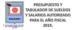 PRESUPUESTO Y TABULADOR 2019